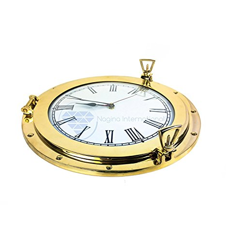 Nagina International Polished Solid Brass Lustrous Premium Nautical Port Hole Time's Clock | Exclusive Pirate's Ship Wall Decor & Collectibles Functional Clock (10 inches)