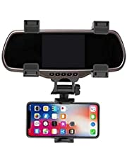 360 Rotation Adjustable Car Rearview Mirror Mount Phone Holder GPS Stand Universal Navigate Support Automobile Data Recorder Bracket Easy to Install Applicable to 99% of Car Models