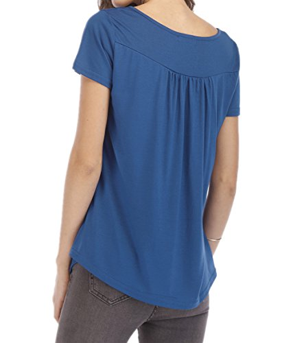 T t Fashion Casual Clair Femmes Courtes Blouses Plier Haut Chemisiers Bleu Manches Shirts Tops Onlyoustyle Tee HgwqRdYnR