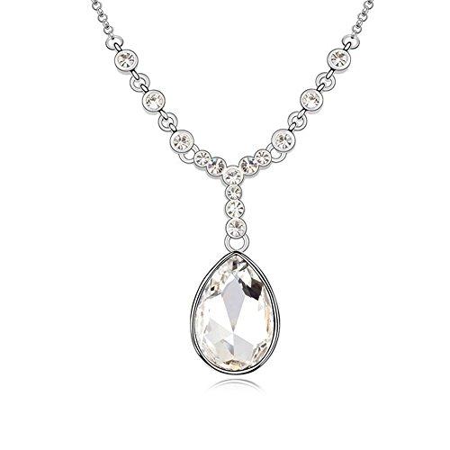 Gorgeous Jewelry Swarovski Austrian Crystal Necklace White Rouge Tears Pendant White Girl Fashion (Cuff White Pendant)