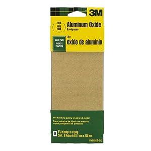 3M 19015ES-CC 3-2/3 by 9-Inch Fine Grit Aluminum Oxide Paint, Wood, Metal Sandpaper, 9-Pack