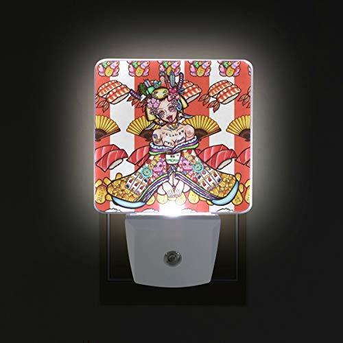 Plug in LED Night Light Geisha Kimono Lamp with Dusk to Dawn Sensor for Kitchen Hallway Bedroom Bathroom, 2 Pack