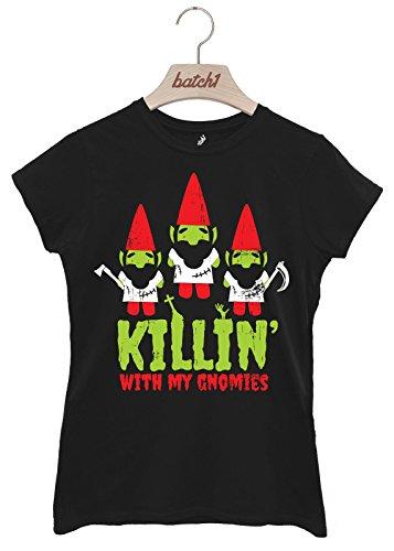 Batch1 Killin My Gnomies Halloween Chillin Zombie Fancy Dress Womens T-Shirt (Medium, -