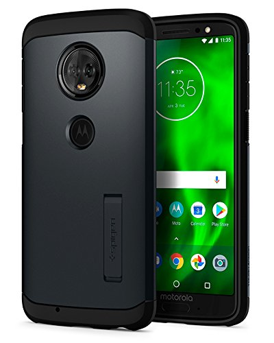 Spigen Tough Armor Moto G6 Case with Reinforced Kickstand and Heavy Duty Protection and Air Cushion Technology for Motorola Moto G6 (2018) - Metal Slate