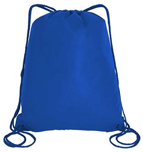 SET OF 10 - Non Woven Well Made Gym Drawstring Bags, Promotional Cinch Bags, Sack Packs by BagzDepot (Large Size (16''W x 19.5''H), Royal) by BagzDepot