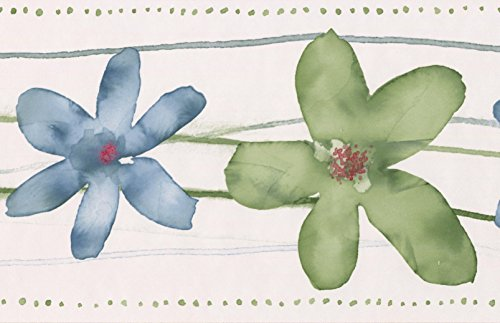 Green Cerulean Blue Flowers Bathroom Floral Wallpaper Border Paint by Design, Roll 15' x 7''