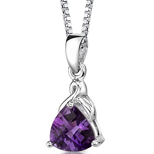 Amethyst Pendant Necklace Sterling Silver Trillion Cut 1.50 Carats (Necklace Gemstone Trillion)