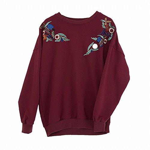 todo Flojo Mujeres La Pesado Temprano Rojo Las El Algodón Cuello Suéter Tda Bordado De Código Mujeres blanco Primavera En PHRg1q
