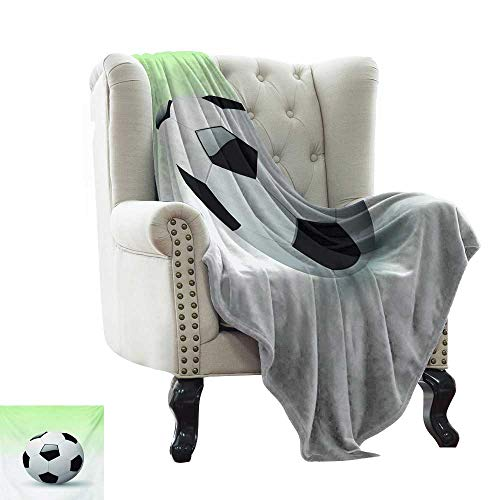 LsWOW Personalized Baby Blanket Sports,Vector Image of Football Soccer Ball Artwork with Green Ombre Background Image,Black and White Lightweight Microfiber,All Season for Couch or Bed - Satin Sport Ombre Yarn