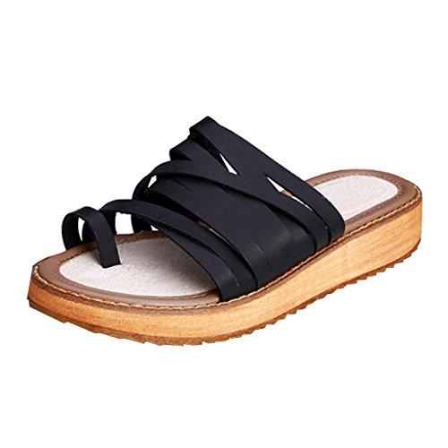 Dear Time Women Roman Thick Sole Beach Sandals Black 3Mhay