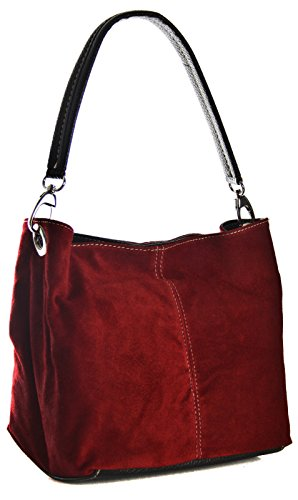 Ladies Slouch Shoulder Aossta Handbag Tote Leather Italian Dark Medium Bag Hobo Suede Red Real 6ndSdwqAv