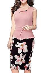 Homeyee Women\'s Elegant Chic Bodycon Formal Dress B288 (L, Light Pink)