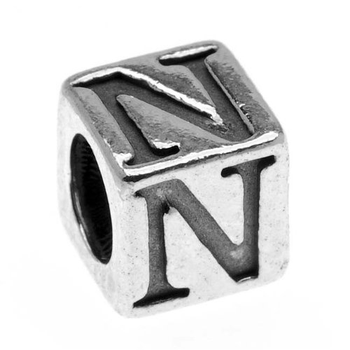 Sterling Silver, Alphabet Cube Bead Letter 'N' 4.5mm, 1 Piece, Antiqued