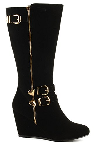 Forever Karly 3 Gold Buckles Zipper Boot dyRh0smKDc