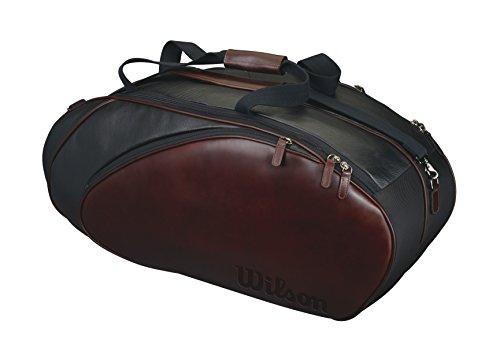 Wilson Schlägertasche Premium Leather Racket Bag 6er, Schwarz, 77 x 31 x 32 cm, 65 Liter, WRZ870406