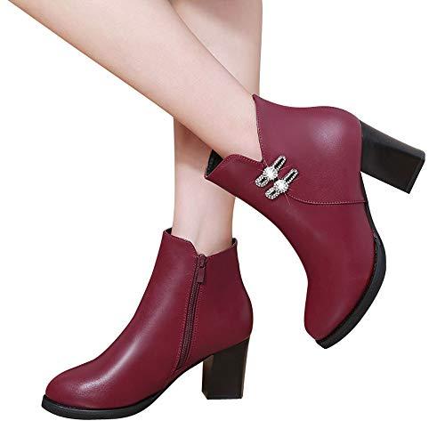 Clearance Sale! Women High Heel Boots Cinsanong Rhinestone Leather Martin Boots Zipper Casual Shoes Boots