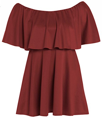 Peplum Selfie Dress Wine Frill Off Shoulder Ladies Click EaqZnEz