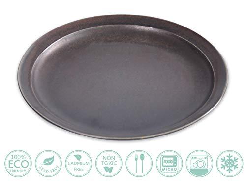 (Globe Faith Eco-friendly Porcelain Salad Plate Coupe Decorative Plate Antipasto Platter Stoneware Dessert Serving Dish, Cast Iron Color Vintage Style 8
