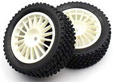 1/10 フロントラリータイヤセット 接着済/ホワイト XCT160740WH