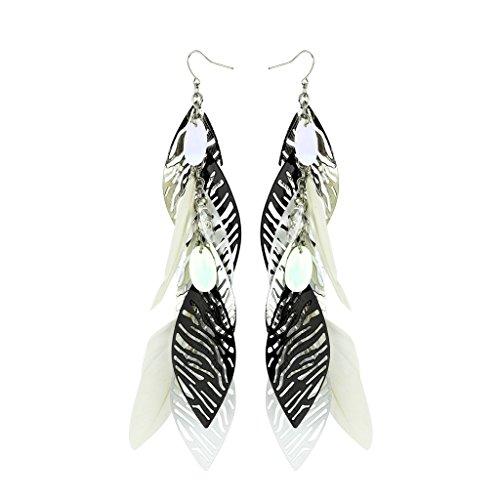 Zebra Earrings (Lux Accessories Zebra Animal Print Metal Leaf Dangle Earrings)