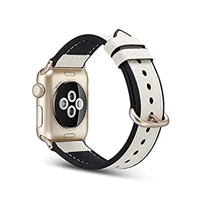 Juzzhou Watch Band For Apple Watch iWatch 38mm/40mm/42mm/44mm Series 1/2/3/4 Leather Replacement With Metal Adapter Buckle