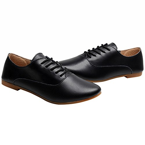 Women Comfort Black Oxfords Lace SN02319 Casual Leather Soft US6 5 Lightweight Pointed Up Flat rismart Shoes Toe zxqHndwzO
