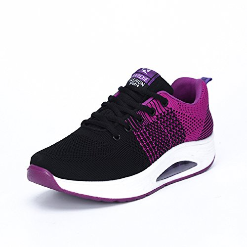 LILY999 Damen Plateau mit Keilabsatz Schnürer Sneakers Atmungsaktiv Mesh Fitnessschuhe Laufschuhe Sportschuhe Violett