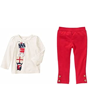 Baby Girl Long Sleeve Shirt and Pant Set