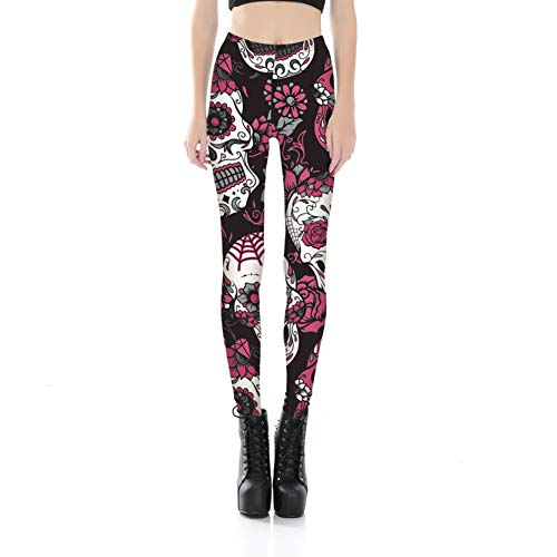 Women's Casual Flower Skull Footless Pants Elastic Sexy Tights Leggings L]()