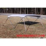 GREY/GRAY Vortex 4 Bow Bimini Top 10' Long, 85-90'' Wide, 54'' High, Pontoon / Deck Boat Complete Kit, Frame, Canopy, and Hardware (FAST SHIPPING - 1 TO 4 BUSINESS DAY DELIVERY)