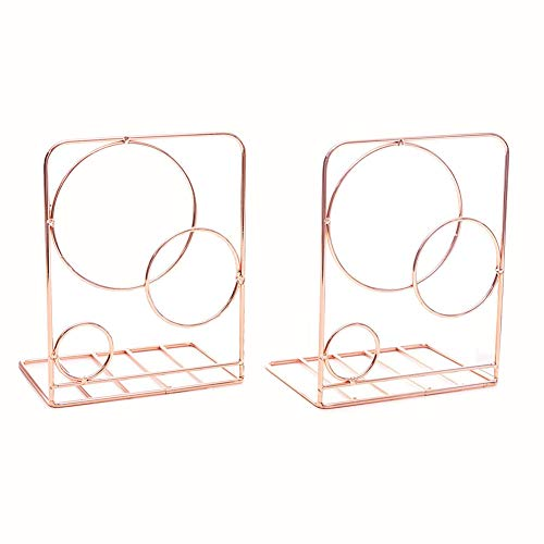 - Agirlgle Bookends Metal Book Ends Heavy Duty Modern Decorative Bookend Bookshelf Decor for Bedroom Library Office School Book Display Desktop Organizer Gift (Rose Gold)