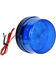 12V Blue Alarm Signal, Blue LED Strobe Beacon Alarm Flashing Light Without Sound Explosion-Proof Can be Used in The Field for Home Security Alarm System