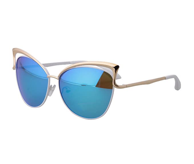Tansle womens Metal cateye sunglasses Gold Frame Blue Lens hollow designed 509e8bdf5d