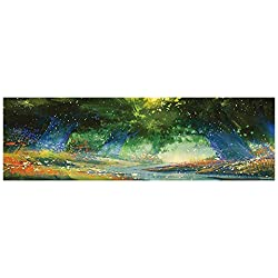 "Auraise Heybee Decorative Aquarium Background Poster Magical with Flower Field with Mist Lights iry Tale River Sticker Wallpaper Fish Tank 29.5""x11.8"""