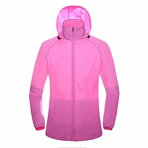 fan products of Maoko Sports Outdoor Running Windbreaker Jacket with Hood- Lightweight Sun UV Protection Pink