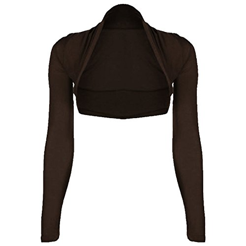 Sleeve Plain Cropped Bolero Shrug Marron Long wTSxqF4nz