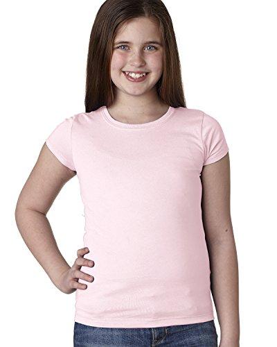 Next Level The Princess Rib Knit Combed Jersey T-Shirt, Light Pink, (Girls Rib Tee)