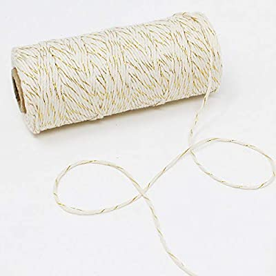 Just Artifacts Eco Bakers Twine 110yd 11ply Striped Gold - Decorative Bakers Twine for DIY Crafts and Gift Wrapping : Office Products