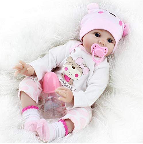 HOOMAI 22' Reborn Baby Dolls Soft Silicone Vinyl Realistic Girls That Look Real Newborn Toddler Magnetic Toy Gift Open Eyes