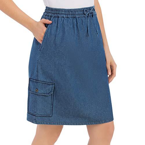 Women's Denim Skort with Cargo Pocket, Denim, Medium