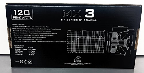 Massive Audio MX3 MX Series Coaxial Speakers 25w RMS Heavy Duty 3.5 3-1//2 Coaxial Audio Speakers 4 Ohm Sold in Pairs Enjoy Crystal Clear Sound with These Great Coaxial Speaker System 50 Watts