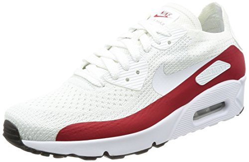 NIKE Mens Air Max 90 Ultra 2.0 Flyknit White/Gym Red/Black 875943 102 US Size 9