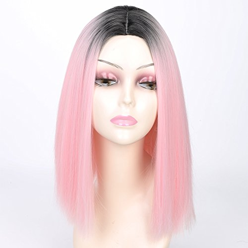 MISSWIG Synthetic Heat Resistant Fiber Straight Hair Fashion Bob Wigs Ombre Color Wigs For Women With Wig Cap