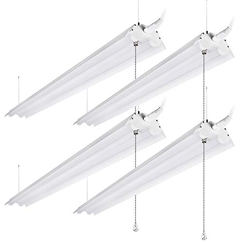 LeonLite 40W 4ft Linkable LED Utility Shop Light, Double-Tube T8 LED, 4000lm 120W Equivalent, ETL & Energy Star Certified Suit for Garage, Workbench, Basement, Warehouse, 5000K Daylight, 4 Pack