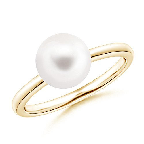Classic FreshWater Cultured Pearl Solitaire Ring in 14K Yellow Gold (8mm Freshwater Cultured Pearl) (Classic Single Gold Yellow Ring)