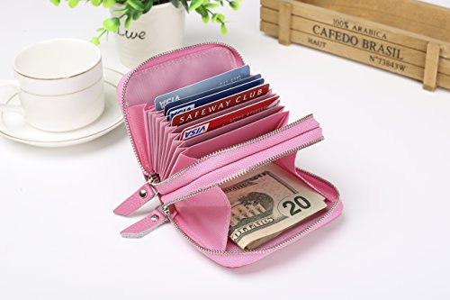 RFID Blocking Genuine Leather Wallet For Women,Classic Credit Card Safe Rfid Block Secuity Travel Wallets/Holder/Case/Protector For Ladies,Small Purse