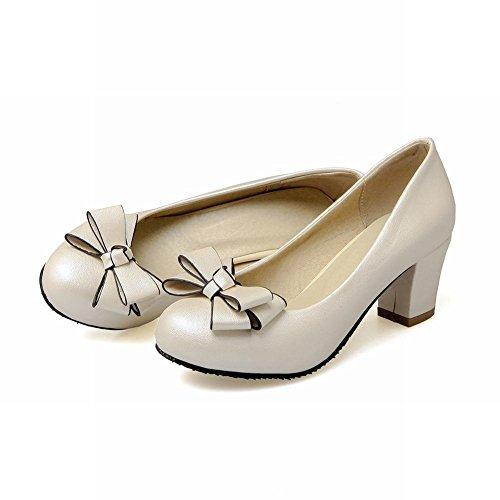 YE Women's Fashion Bows Mid Block Heel Slip On Office Work Dress Court Shoes Beige IXcXyQu0zy
