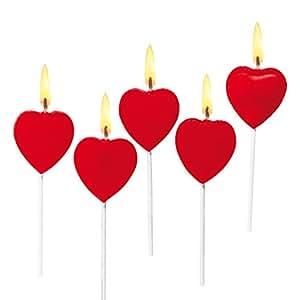 SUSY CARD Kuchenkerzen Herz, aus Wachs, auf Holzstäbchen