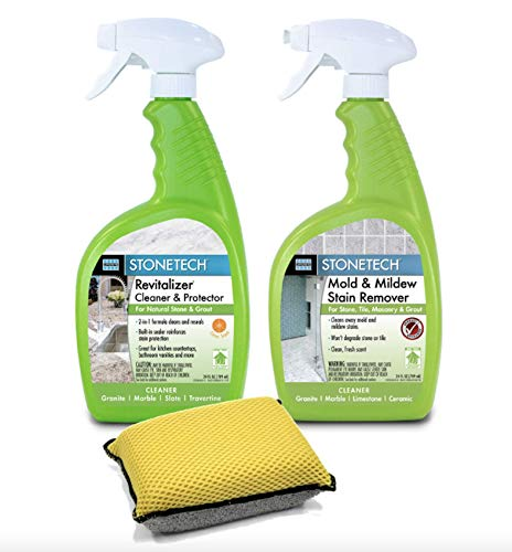 - StoneTech Revitalizer, Cleaner & Protector And Mold & Mildew Stain Remover for Tile & Stone Bundle with Microfiber Sponge Applicator Pad