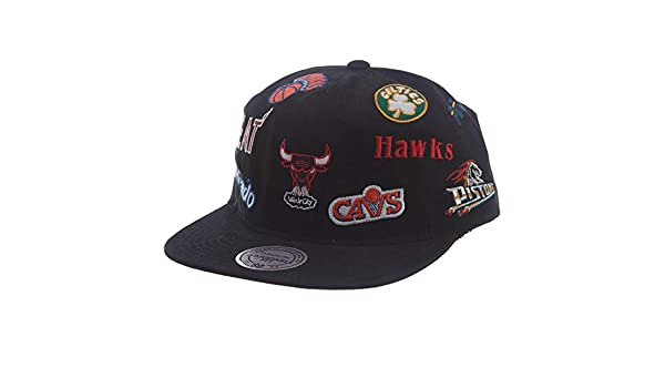 promo code 194a6 83e84 Amazon.com  Mitchell   Ness NBA All-Over Deadstock East West Snapback  (Black East, OSFA)  Clothing